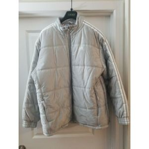 Adidas Down Coat Padded silver Winter Coat SZ L